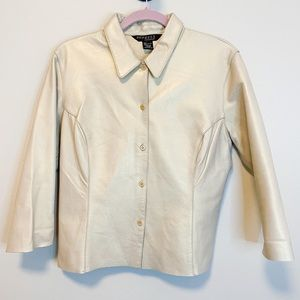 Express Vintage Real Leather Gold Button Down